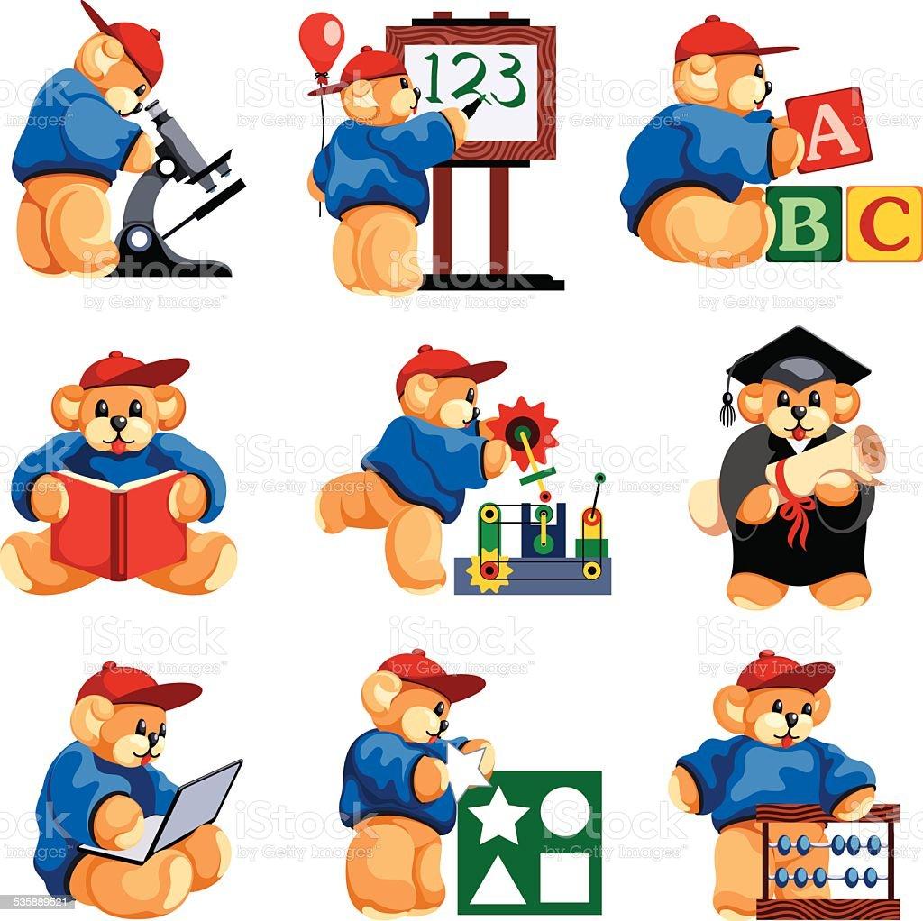 Student Teddy Bear vector art illustration