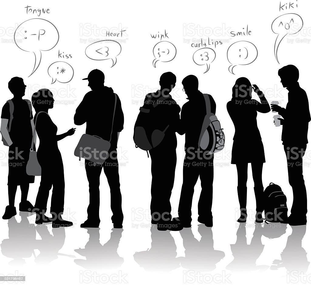 Student Text Language vector art illustration