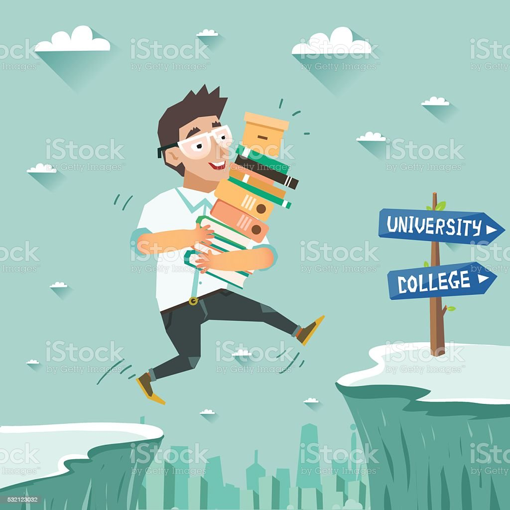 Student with pile of books jumping over the abyss vector art illustration