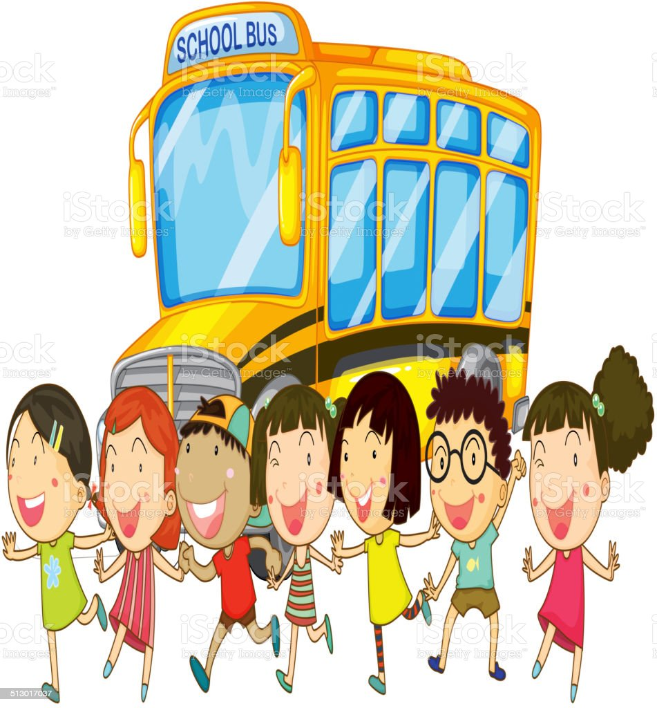 Students and school bus vector art illustration