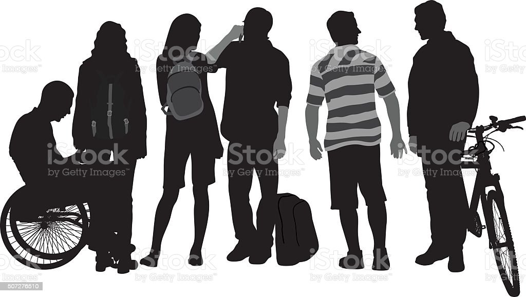Students And Wheels vector art illustration