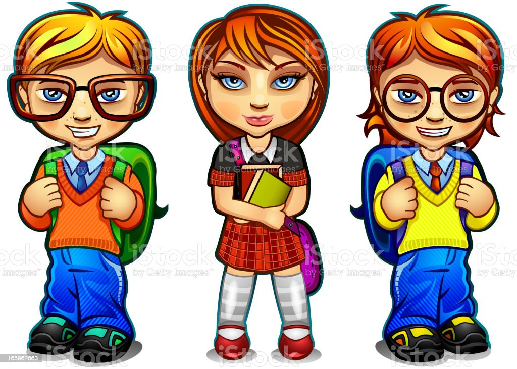 Students children vector art illustration