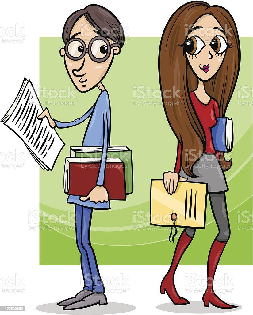 students couple in love cartoon vector art illustration
