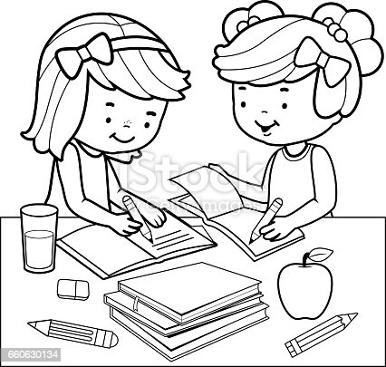 students doing homework black and white coloring book page stock vector art 660630134 istock