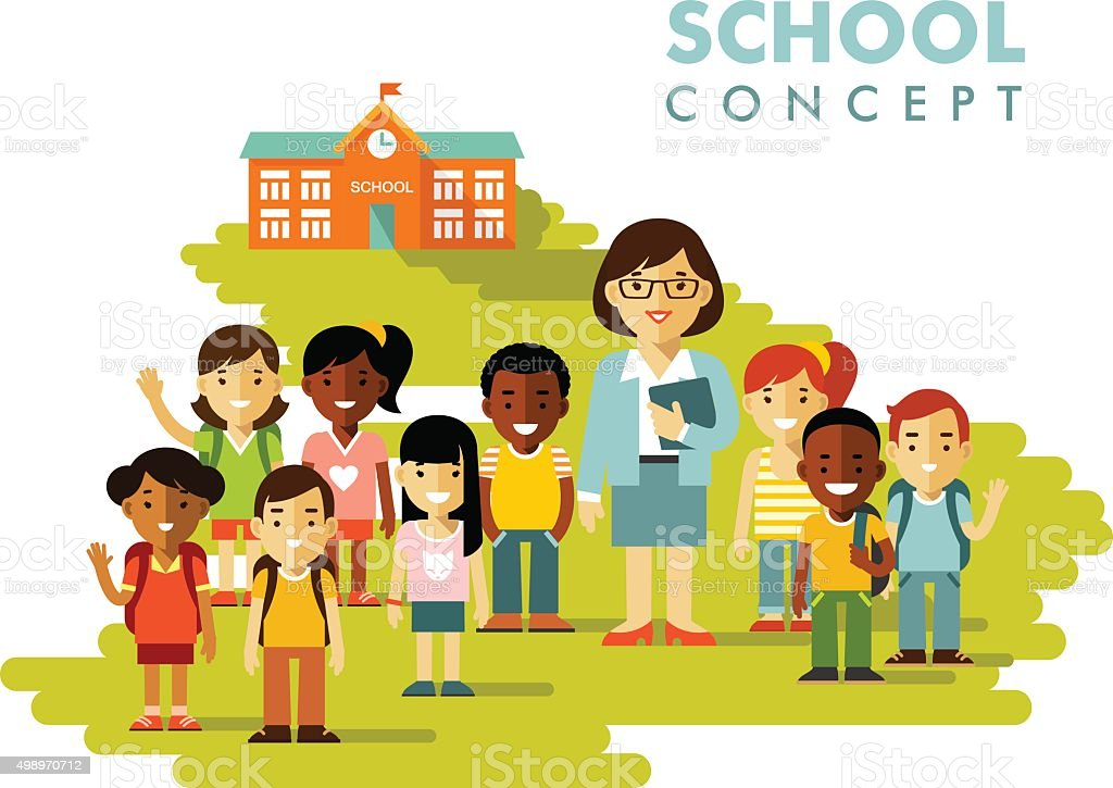Students group and teacher on school background in flat style vector art illustration