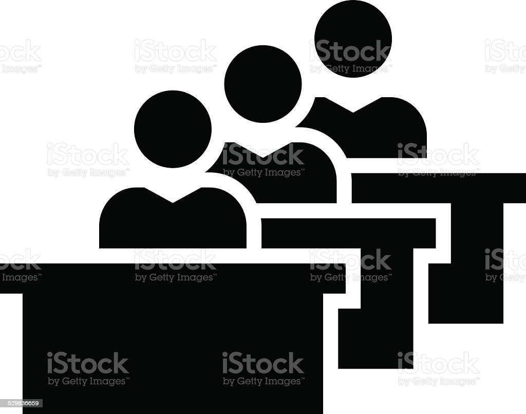 Students in classroom icon vector art illustration