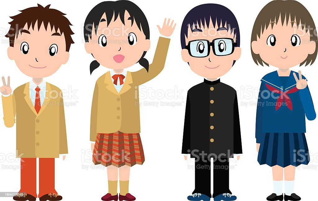 Students in the 1st grade of high-school royalty-free stock vector art
