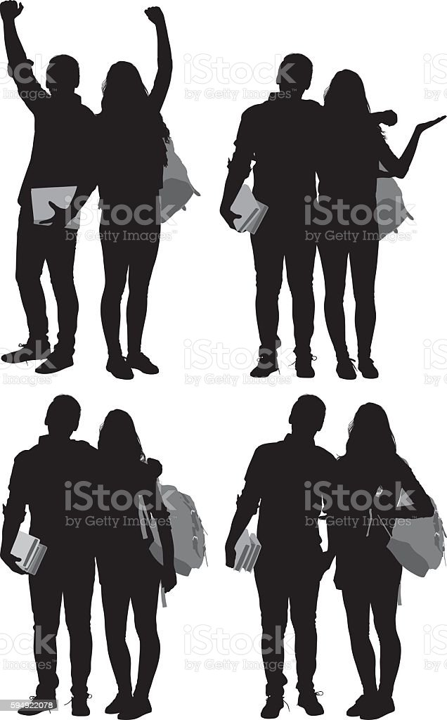 Students in various actions vector art illustration