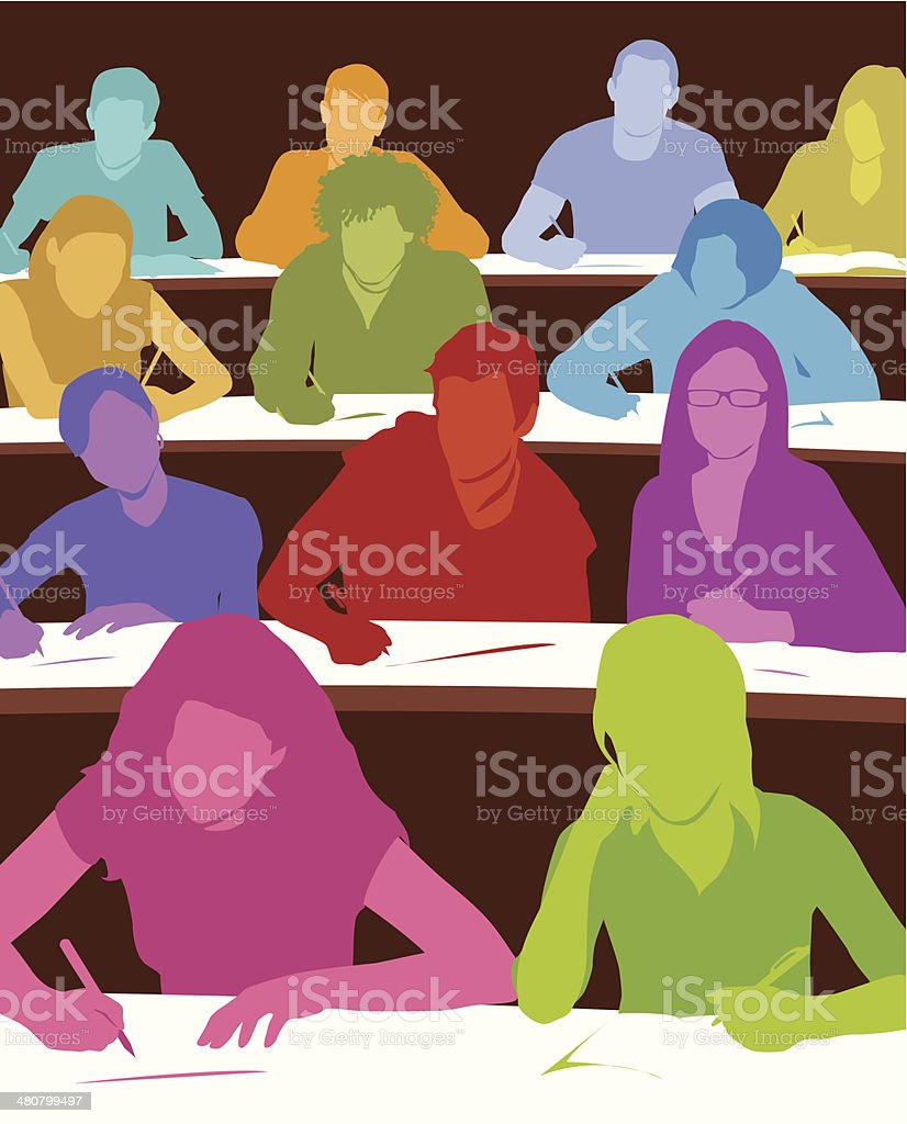 Students Lecture Hall C vector art illustration