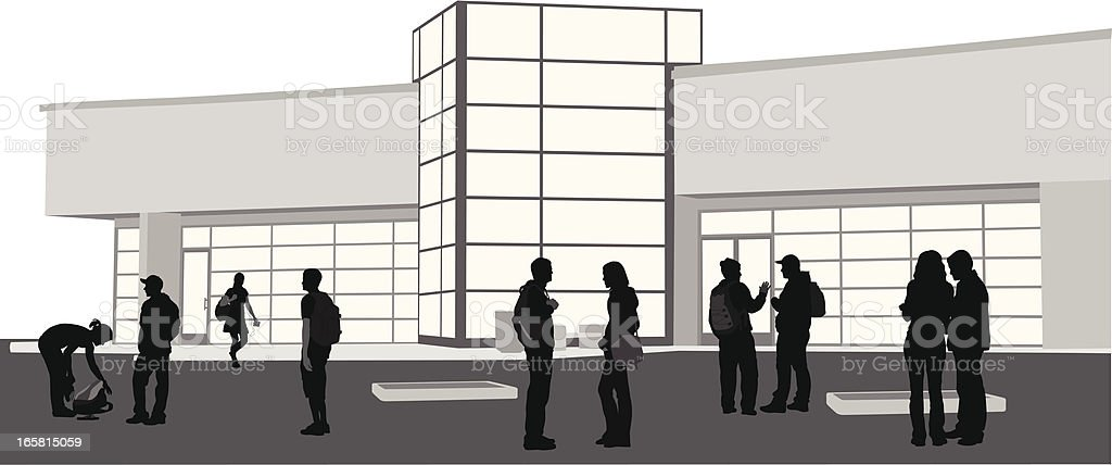 Students On Campus Vector Silhouette royalty-free stock vector art