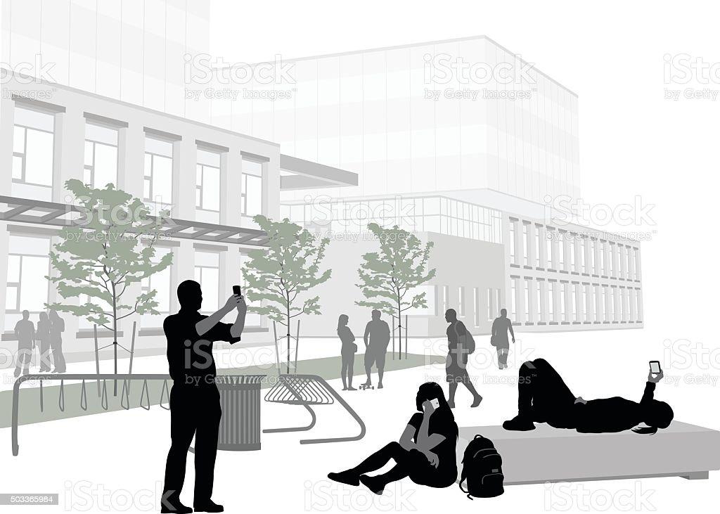 Students On Cellphones vector art illustration