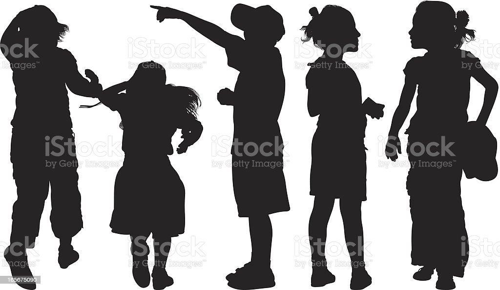 Students standing together royalty-free stock vector art