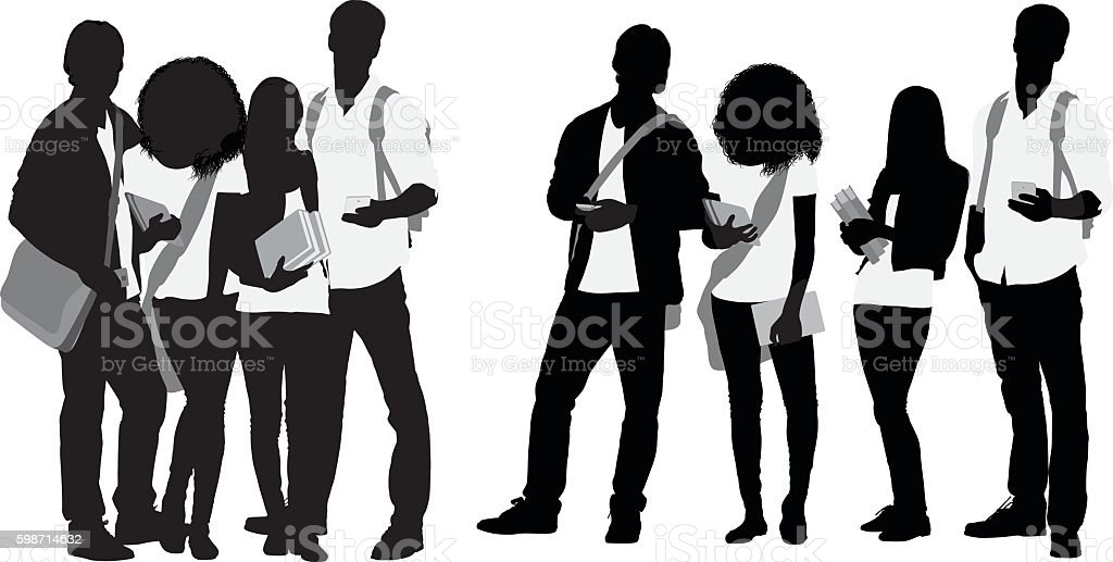 Students standing together vector art illustration