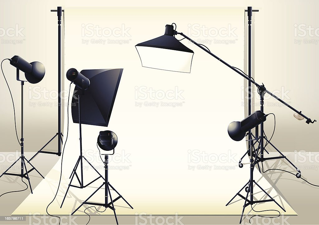 Studio set-up vector art illustration