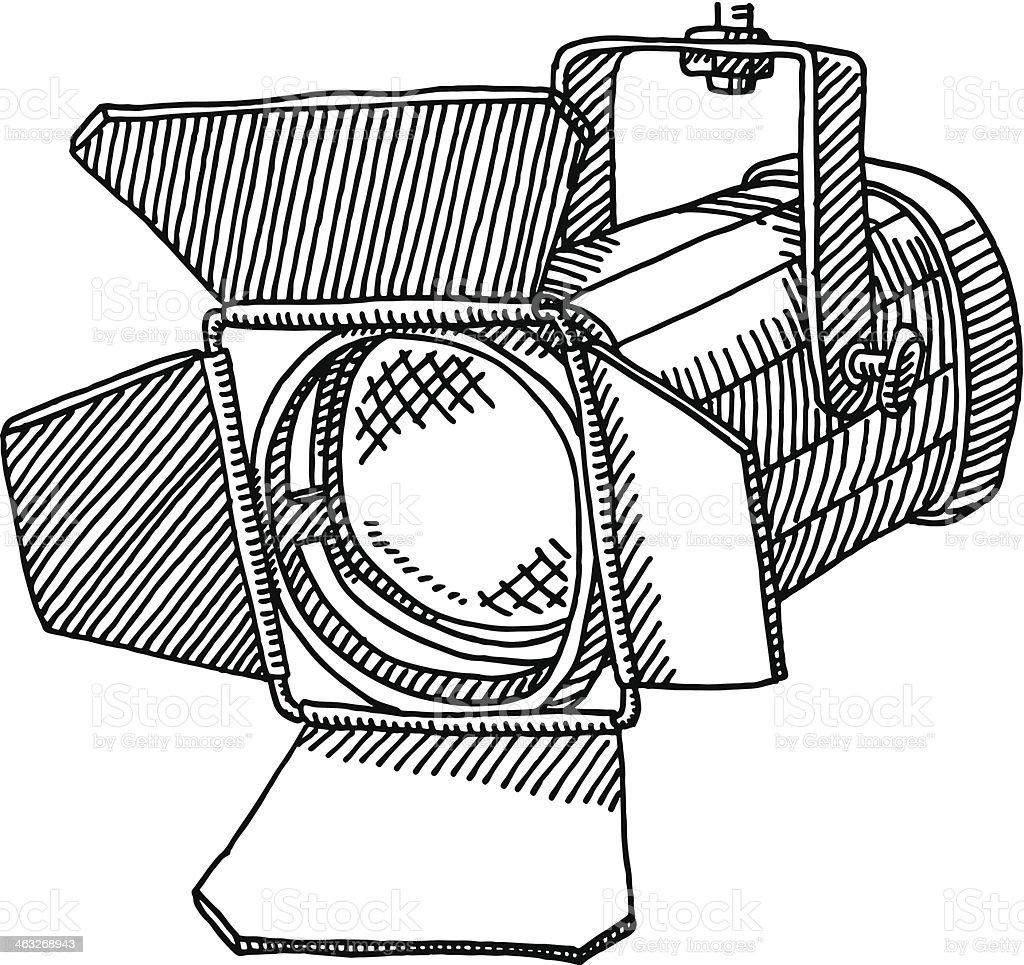 Studio Spotlight Drawing vector art illustration