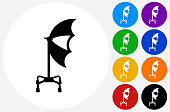 Studio Umbrella and Photography Icon on Flat Color Circle Button