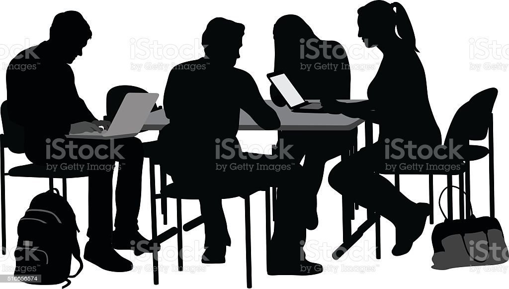 Studying At College With Friends vector art illustration