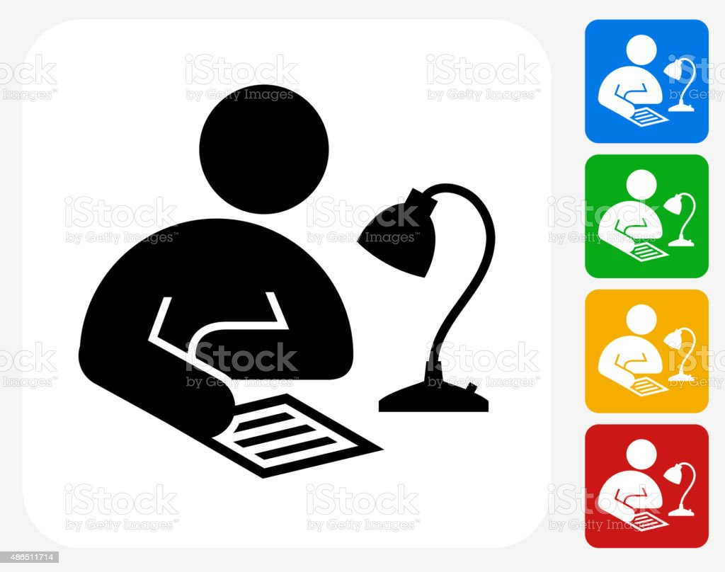 Studying Icon Flat Graphic Design vector art illustration