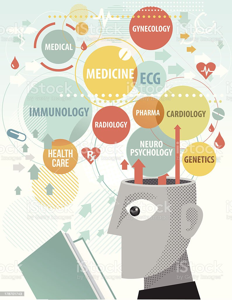 Studying medical terms royalty-free stock vector art