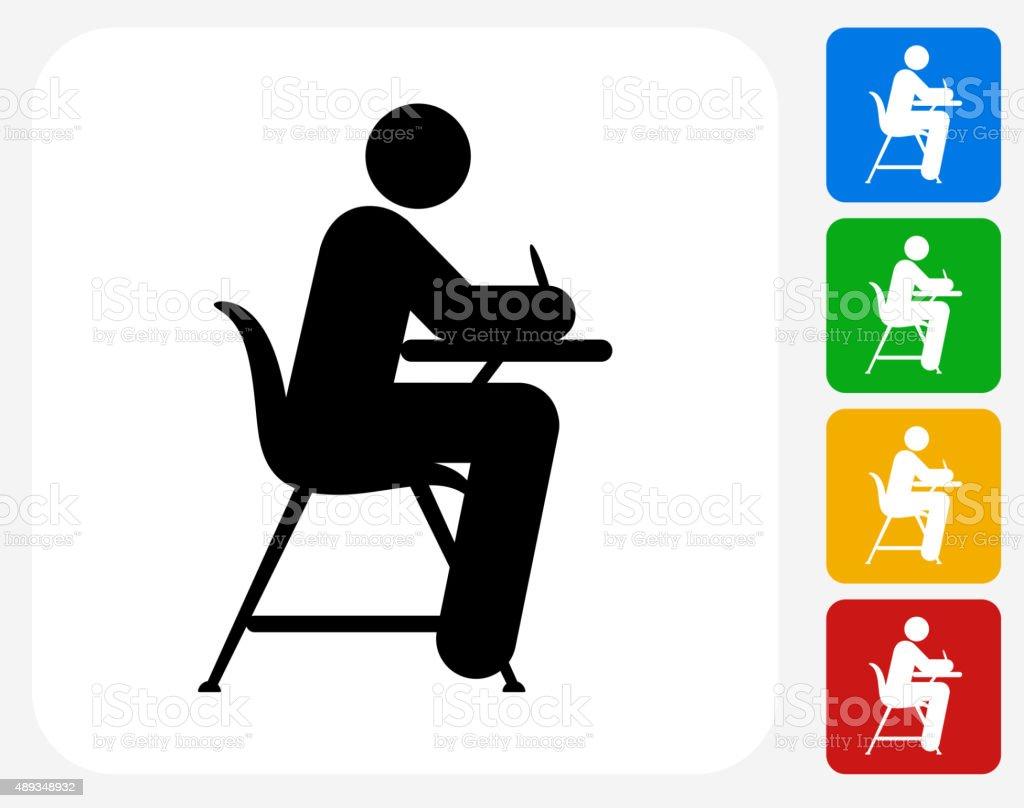 Studying on School Desk Icon Flat Graphic Design vector art illustration