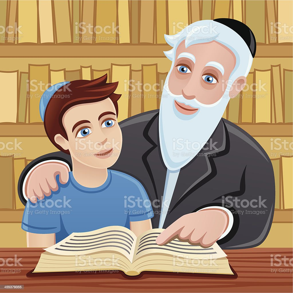 Studying the Torah with grandfather vector art illustration