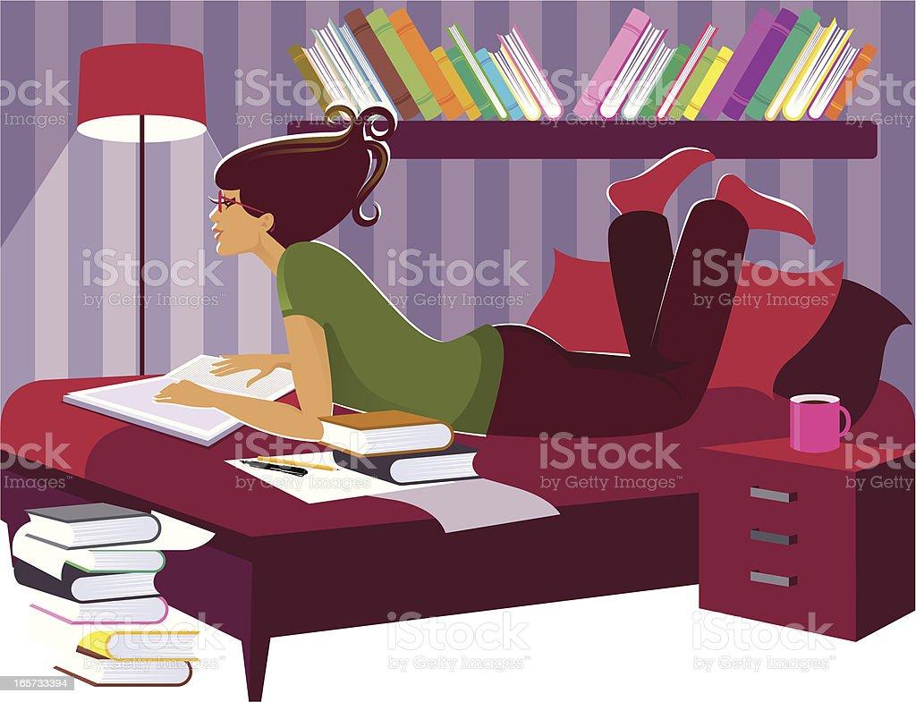 Studying. vector art illustration