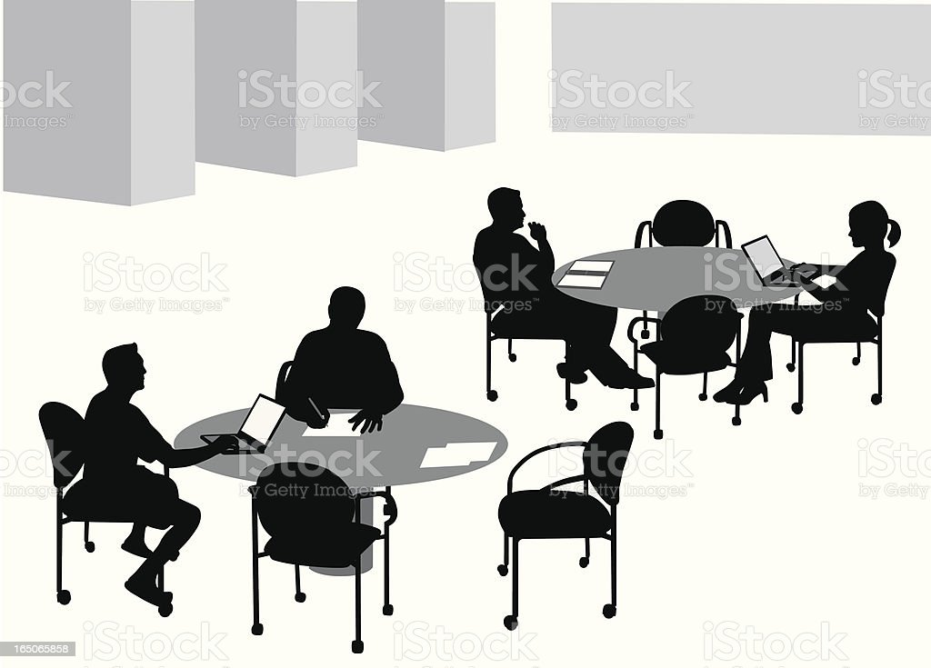 Studying With Friends Vector Silhouette royalty-free stock vector art