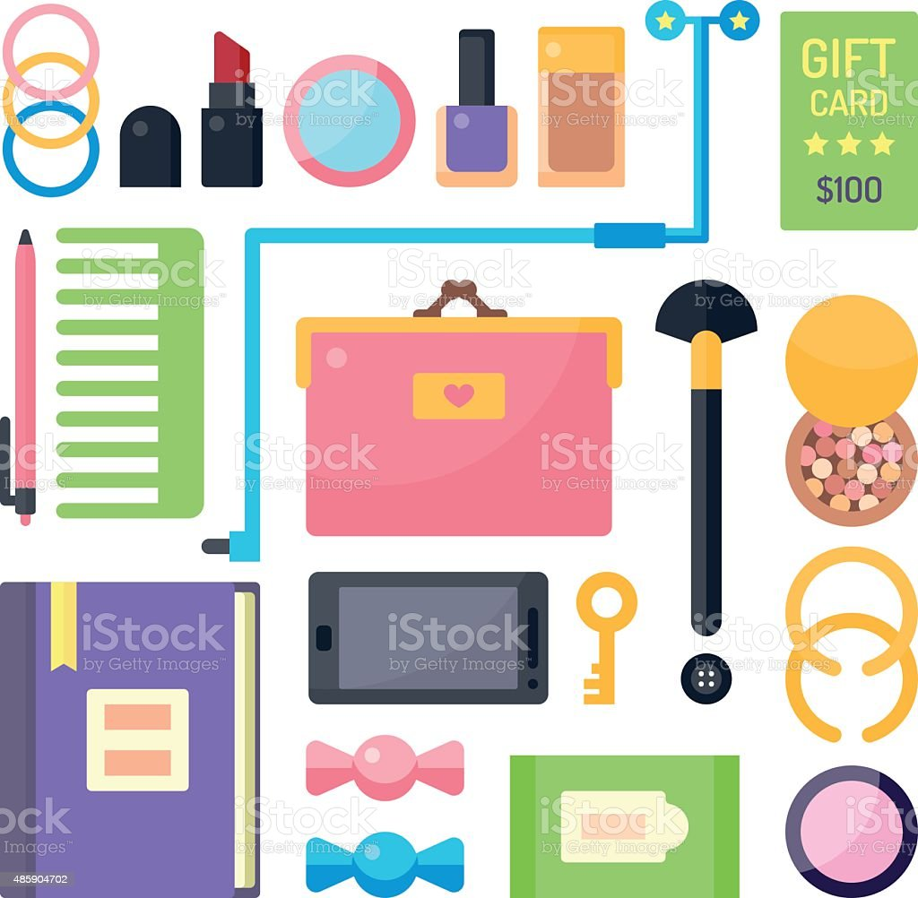 Stuff from Women's Handbags vector art illustration
