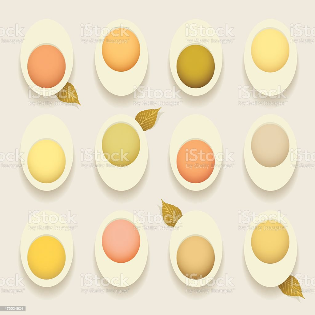 stuffed deviled hard cooked eggs recipes concept vector illustration vector art illustration