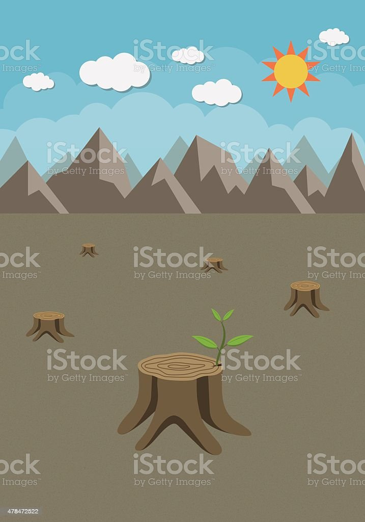 Stump with a green leaves vector art illustration