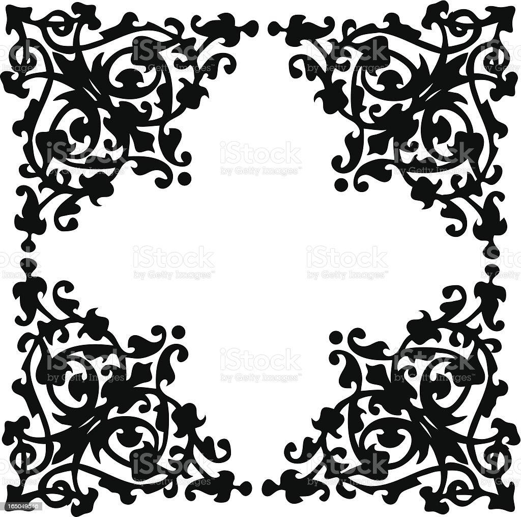 A stunning black floral swirl corner boarder design royalty-free stock vector art