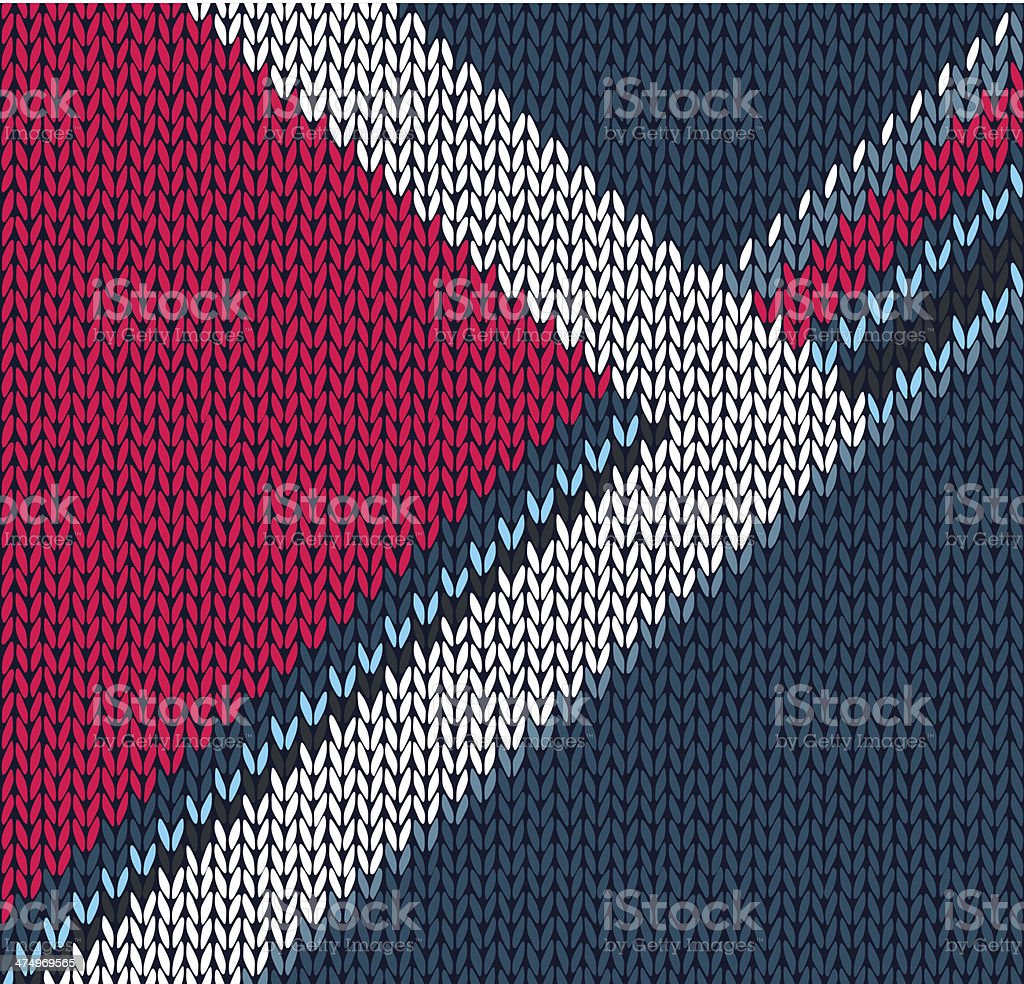 Style Blue Red with White Arrow Color Knitted Vector Pattern royalty-free stock vector art