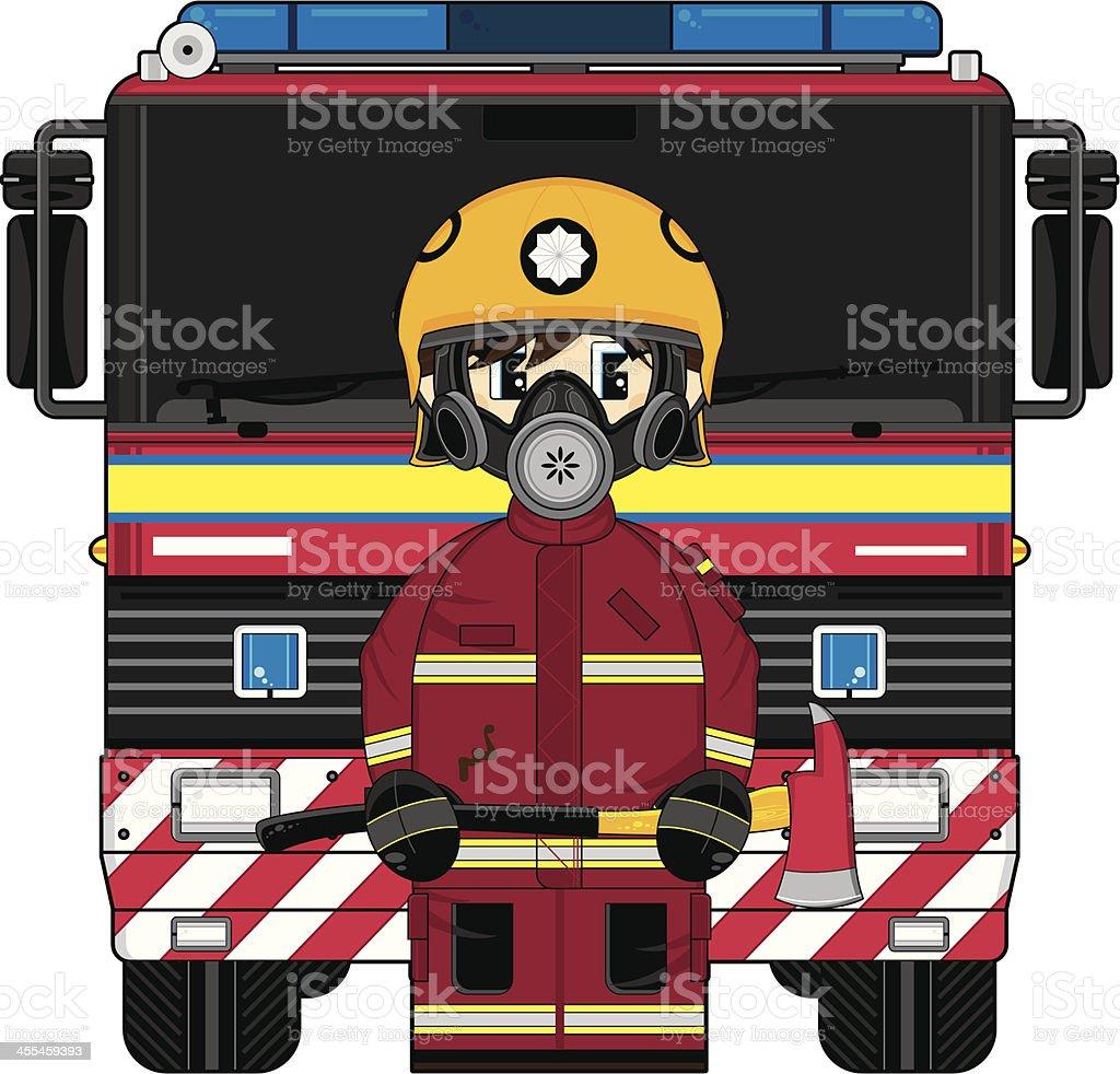 UK Style Fireman and Fire Engine vector art illustration