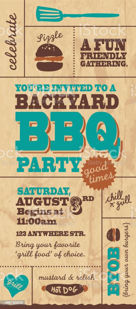 BBQ style invitation template vector art illustration
