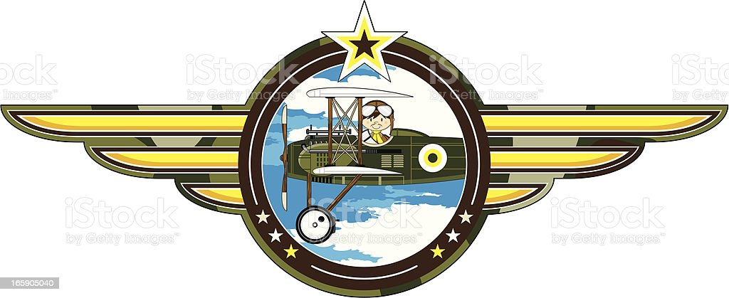 WW1 Style Military Biplane & Pilot Badge royalty-free stock vector art