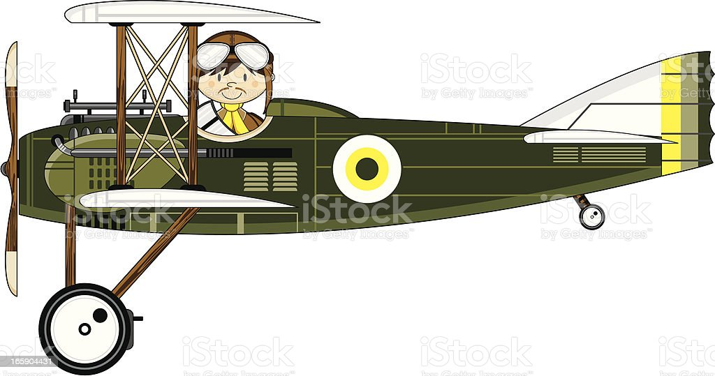 WW1 Style Military Biplane & Pilot royalty-free stock vector art