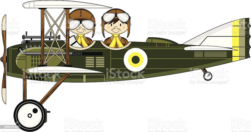 WW1 Style Military Biplane & Pilots royalty-free stock vector art