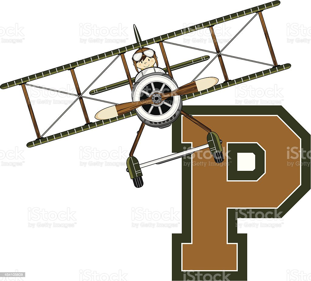 WW1 Style Pilot in Plane Learning Letter P royalty-free stock vector art