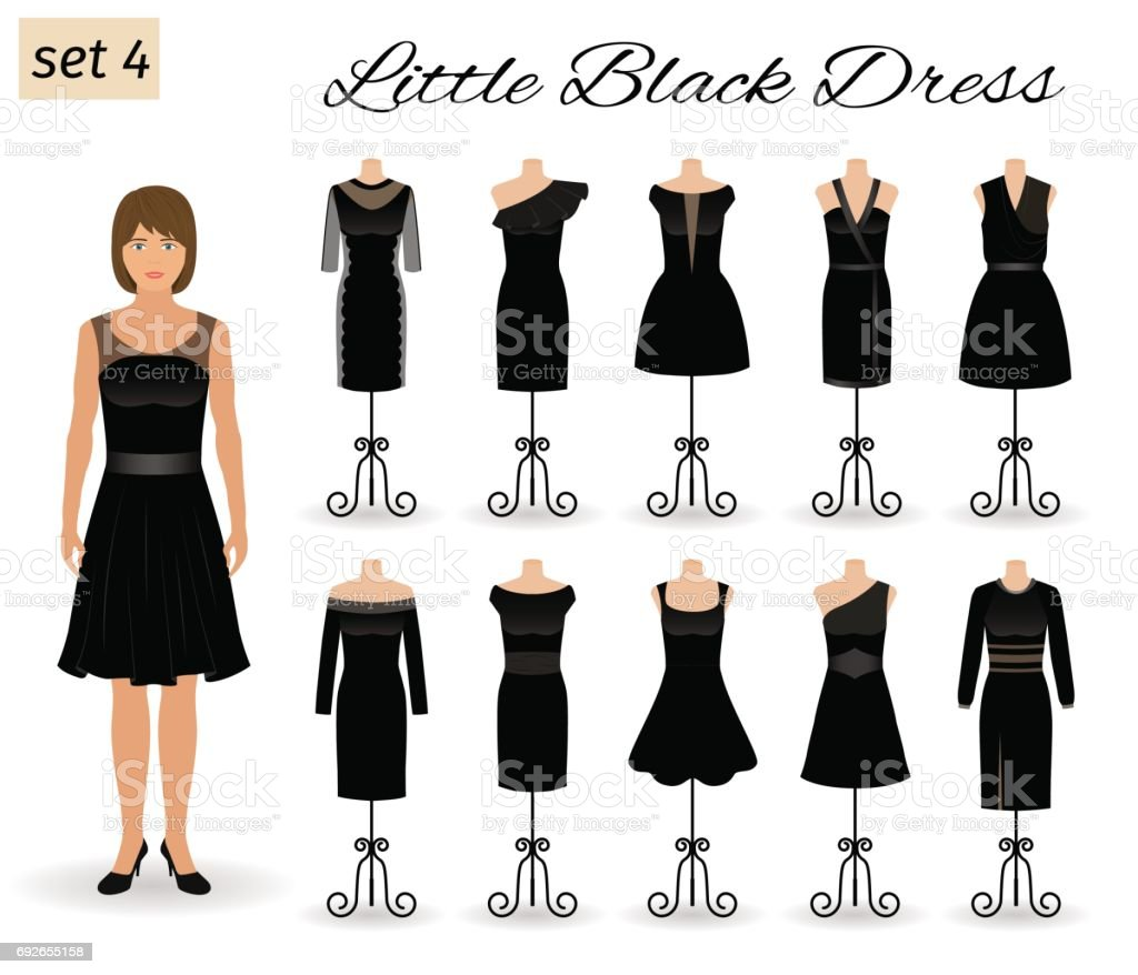 Stylich woman character in little black dress. Set of evening dresses for cocktail on a mannequins. vector art illustration