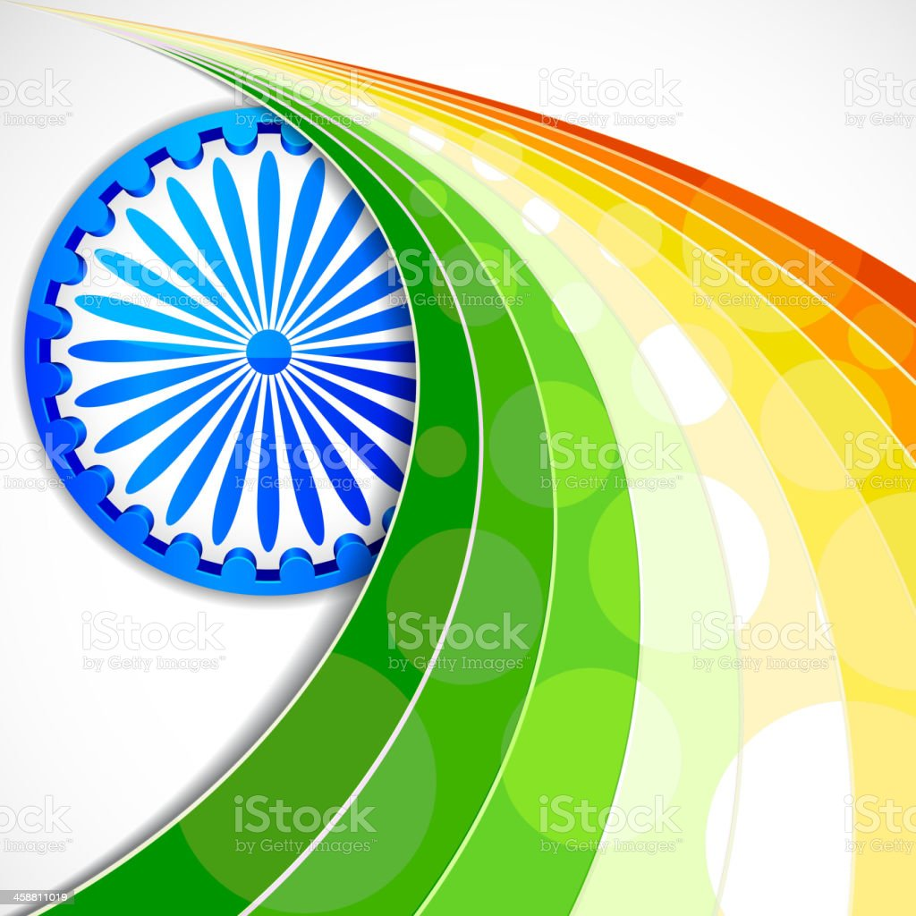 Stylised background featuring Indian flag elements vector art illustration