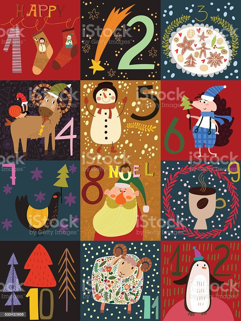 Stylish  Advent calendar.Part I. Christmas poster with holiday s vector art illustration