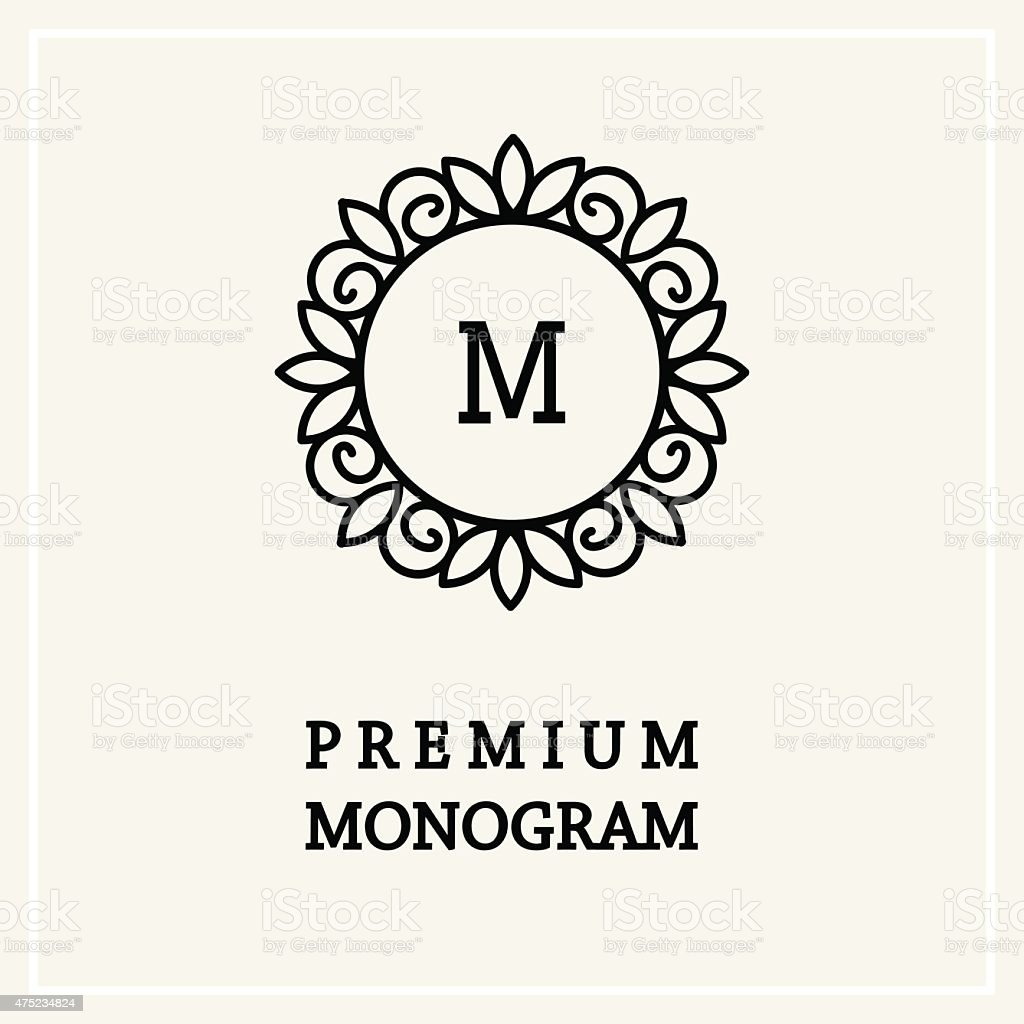 Stylish and graceful floral monogram design  Line art logo vector art illustration
