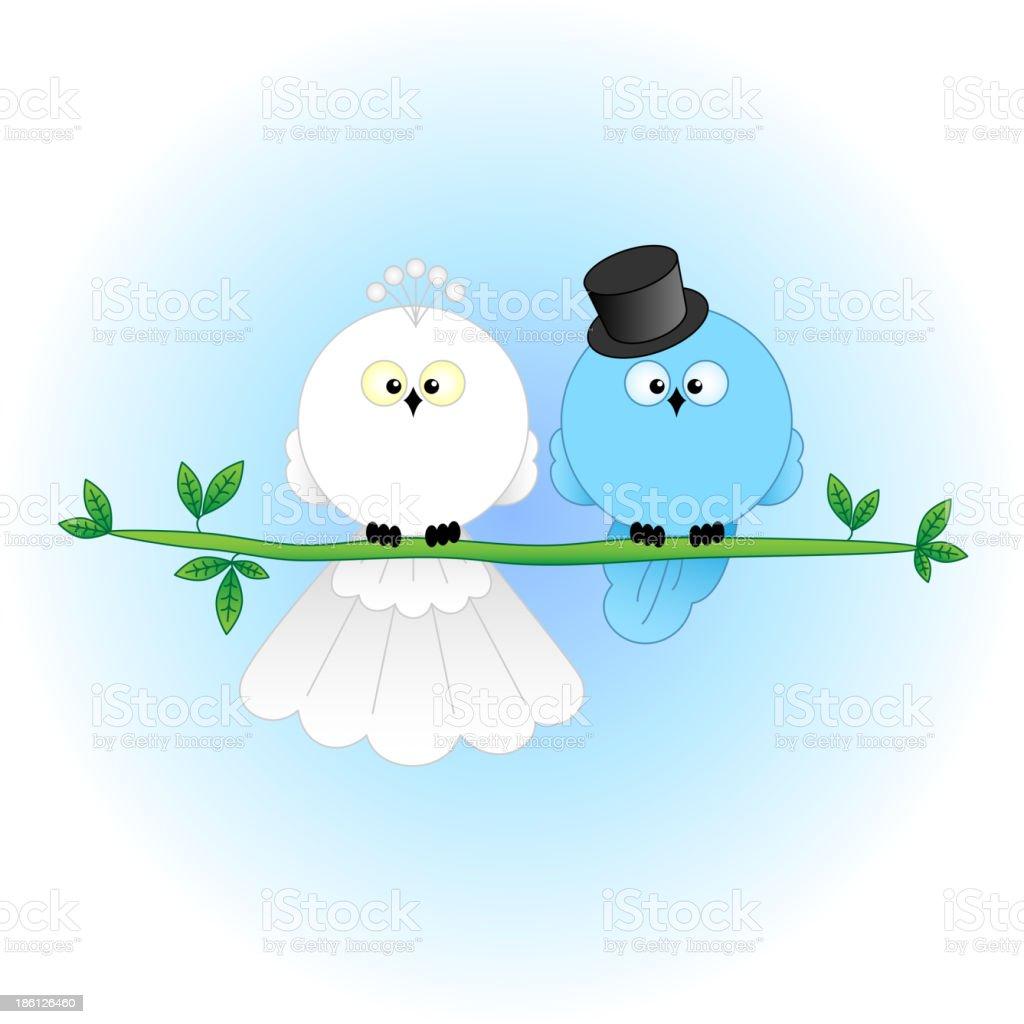 Stylish Bride and Groom Birds royalty-free stock vector art
