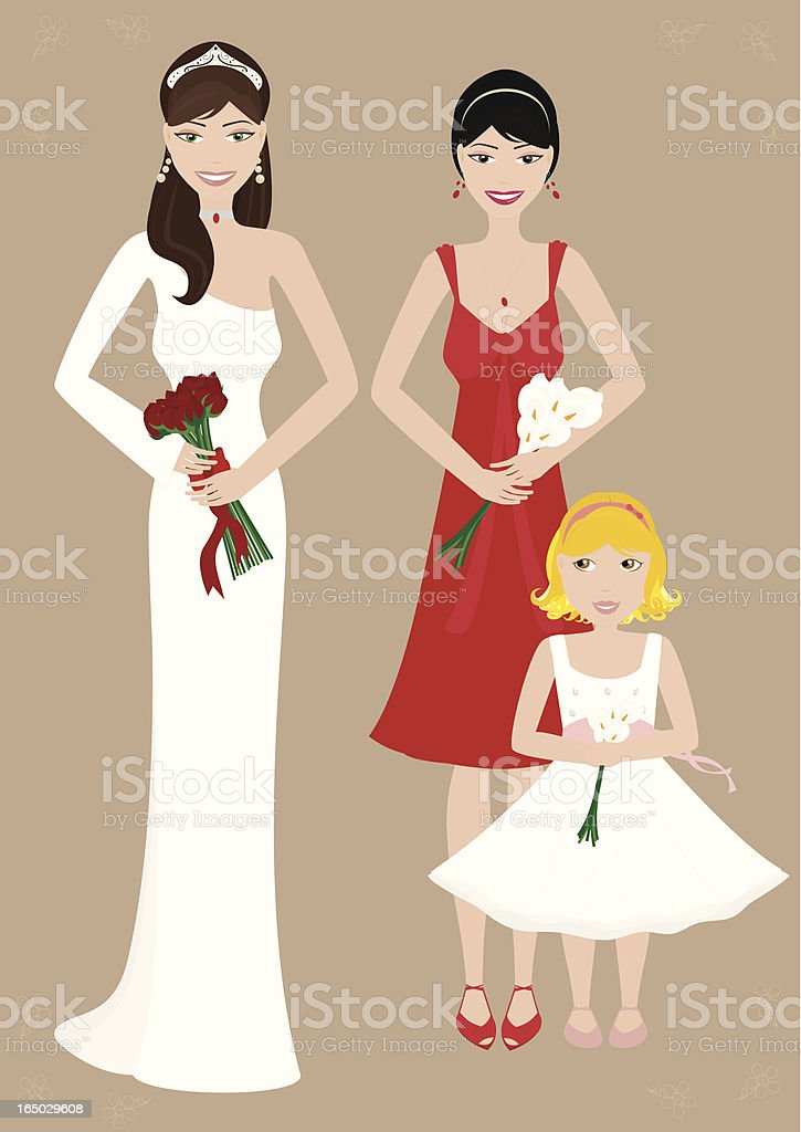 Stylish Bride & Bridesmaids - incl. jpeg vector art illustration
