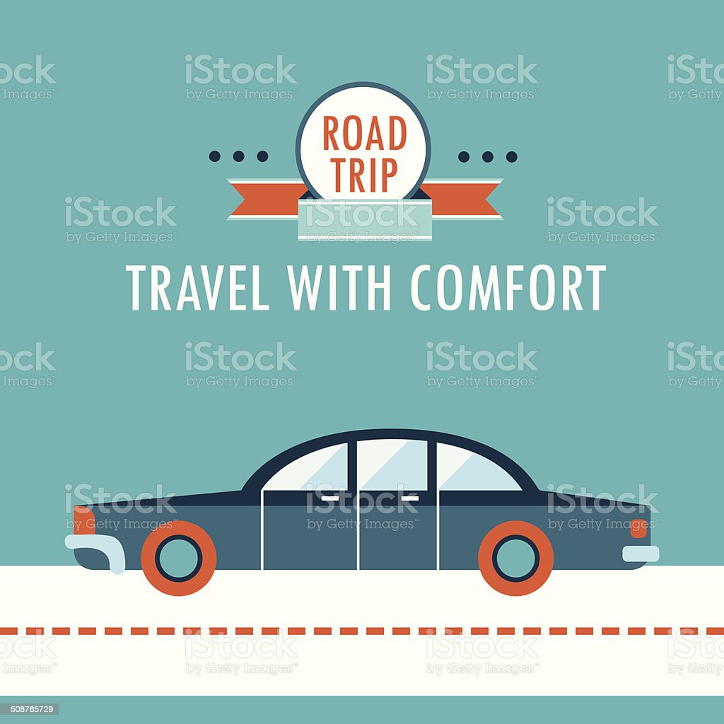 Stylish car on the road background design template vector art illustration