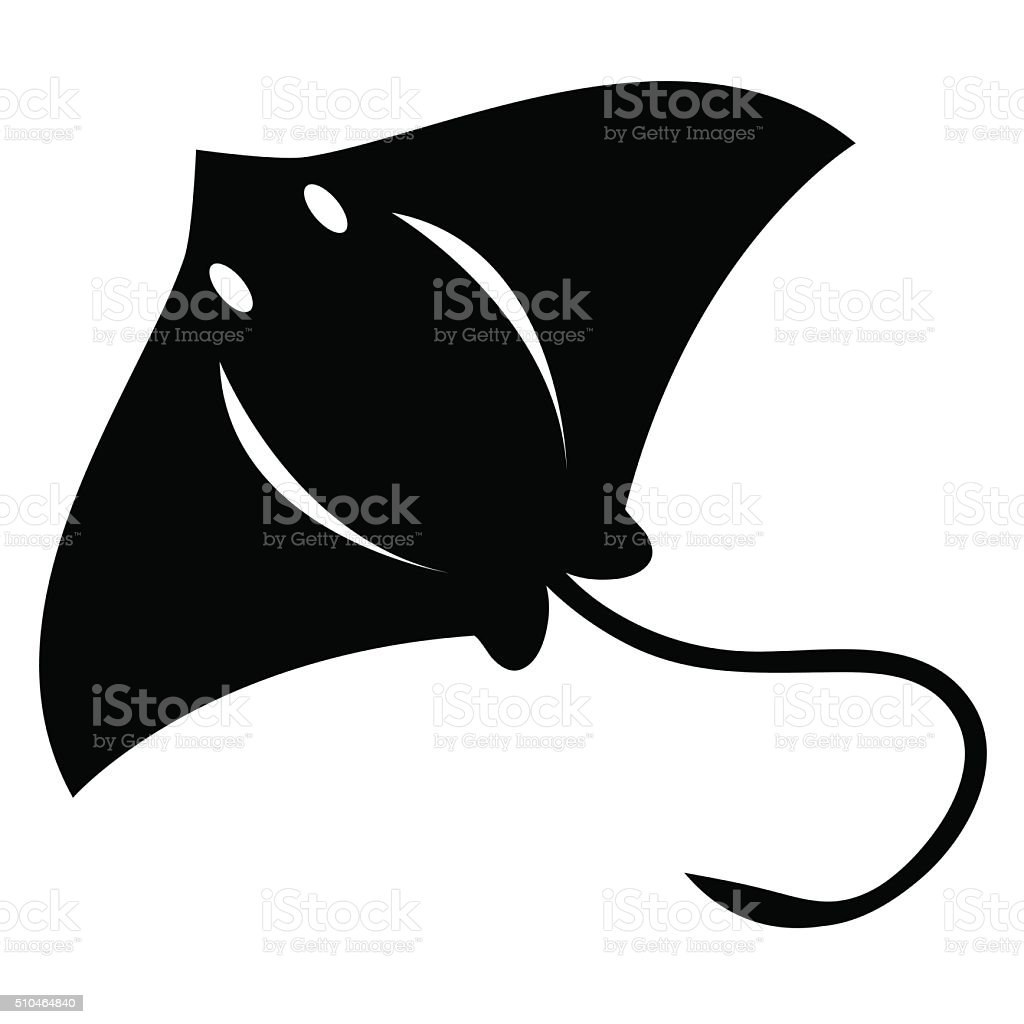Stylish Cartoon Stingray Isolated On White Background vector art illustration