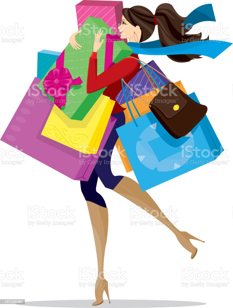 Stylish Christmas Shopper royalty-free stock vector art