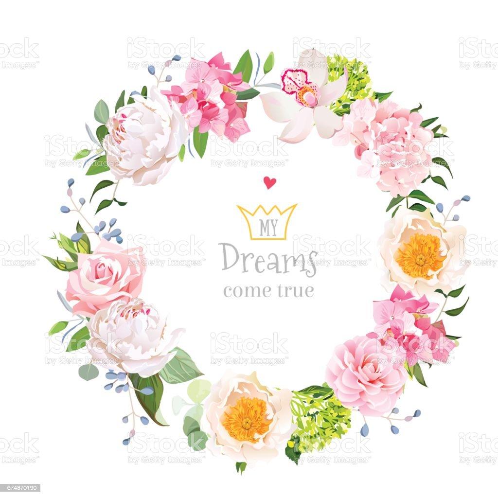 Stylish floral vector design round frame vector art illustration