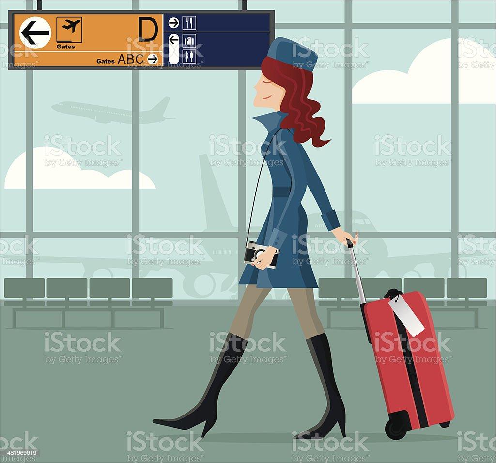 Stylish girl at the airport vector art illustration