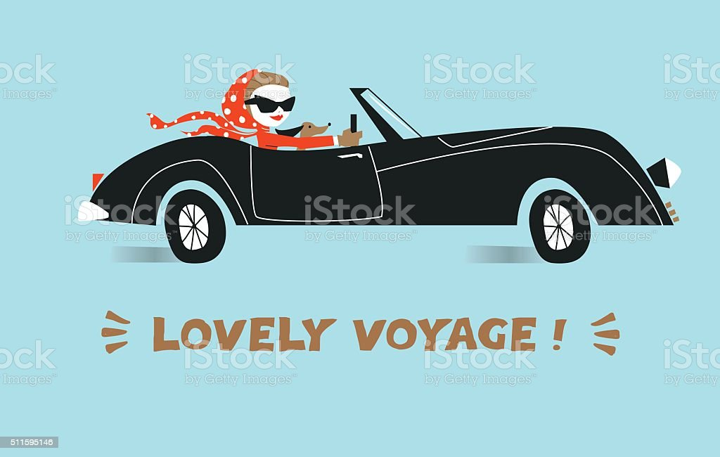 Stylish girl driving car. Illustration. vector art illustration